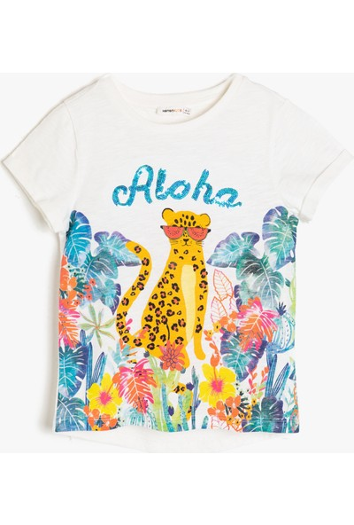 Koton Kız Çocuk Pul Detaylı T-Shirt