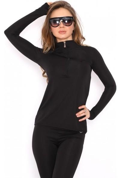 Sportic Line Dalgıç Kumaş Kadın Siyah Spor Tayt + Sweatshirt Kombini