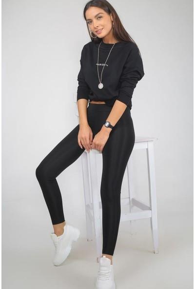 Lady Hürrem Parlak Kadın Disco Tayt Siyah Renk