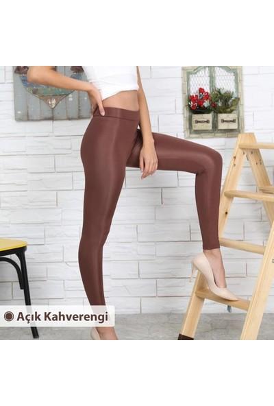 Lady Hürrem Yüksek Bel Parlak Disco Tayt Sütlü Çikolata Renk