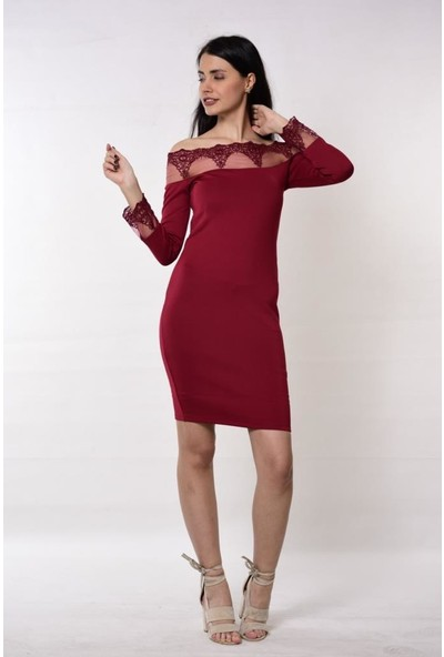Gossip Kolları Ve Yakası Dantel Detaylı Bordo Elbise