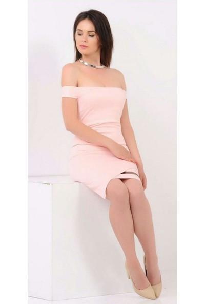 Gossip Eteği Çapraz Kesim, Tül Detaylı Pembe Elbise