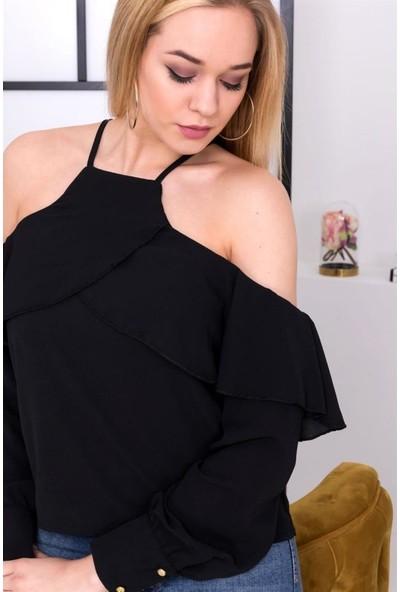 Esperi Omuz Dekolteli Askılı Siyah Renk Bluz