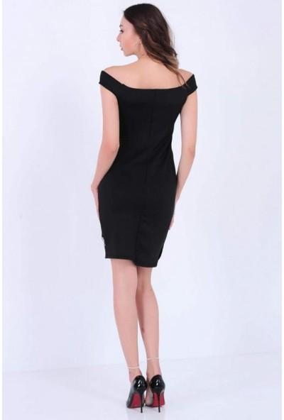 Gossip Eteği Çapraz Kesim, Tül Detaylı Siyah Elbise