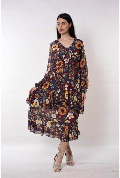 Wom Chery Çiçek Desenli Eteği Kat Detaylı Elbise