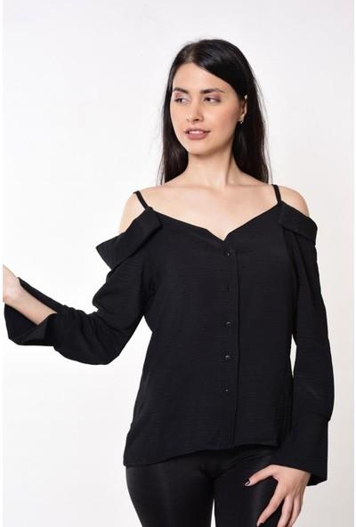 Wom Chery Krinkıl Kumaş Askılı Siyah Kadın Gömlek