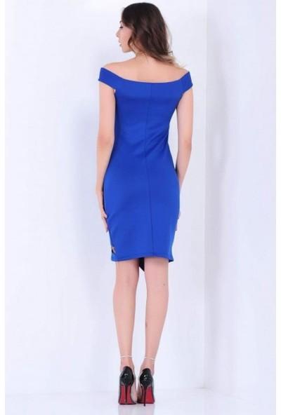 Gossip Eteği Çapraz Kesim, Tül Detaylı Sax Mavisi Elbise