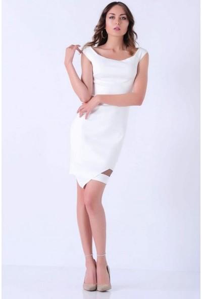 Gossip Eteği Çapraz Kesim, Tül Detaylı Beyaz Elbise