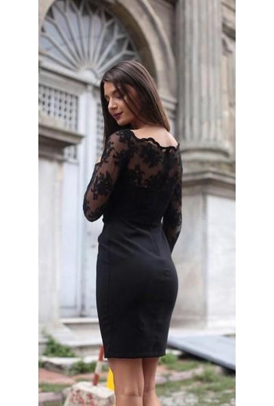 Fame Tekstil Dantel Detaylı Siyah Elbise