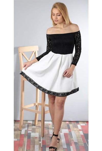 Gossip Düşük Omuzlu, Dantelli Eteği Beyaz Elbise