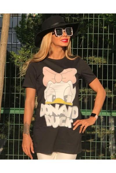 Ouz Fashion Donald Duck Siyah Tunik
