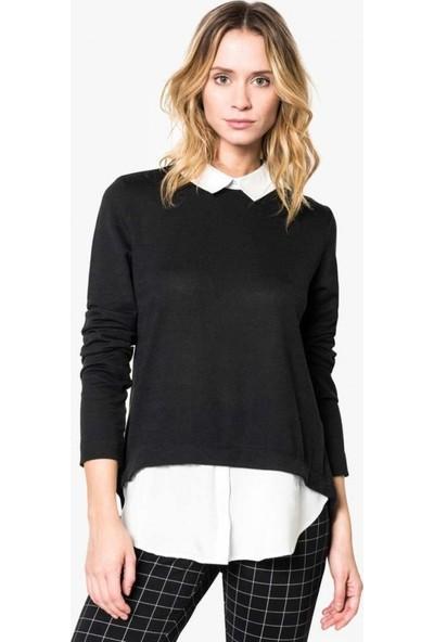 Etika Gömlek Yaka Siyah Triko Bluz