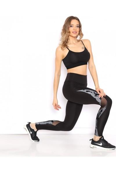 Lady Hürrem Tül Detaylı Ekstra Yüksek Bel Siyah Sporcu Taytı