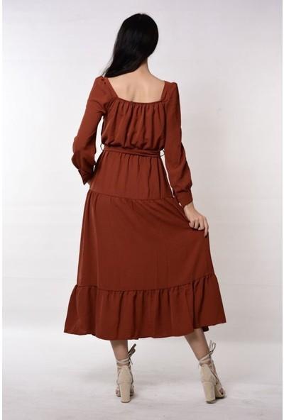 Wom Chery Eteği Yırtmaçlı Yeni Sezon Kiremit Rengi Kat Elbise Modelimiz