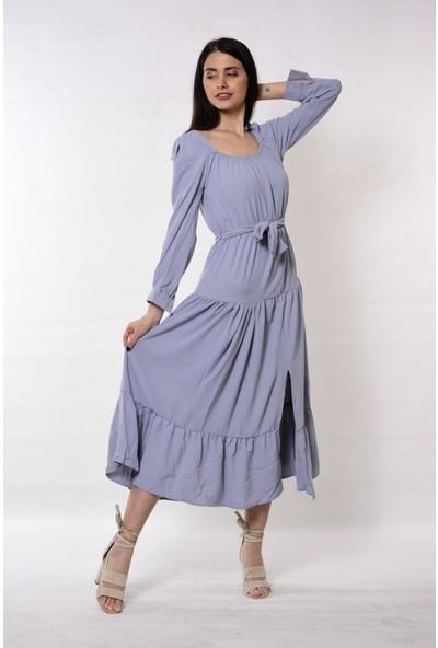 Wom Chery Eteği Yırtmaçlı Yeni Sezon Mavi Kat Elbise Modelimiz