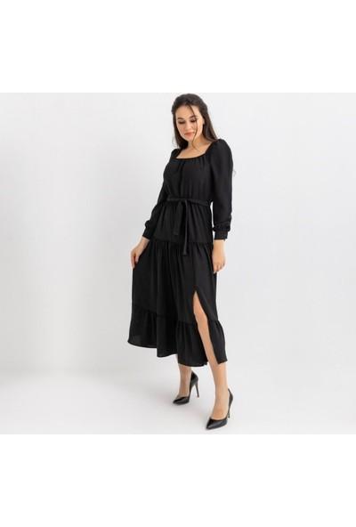 Wom Chery Eteği Yırtmaçlı Yeni Sezon Siyah Kat Elbise Modelimiz