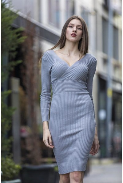 Esperi Kruvaze Triko Elbise(1 Renk)