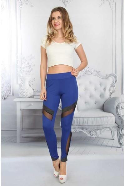 Farba Tül Detaylı Kadın Dalgıç Kumaş Yüksek Bel Tayt Modelleri(2 Renk)