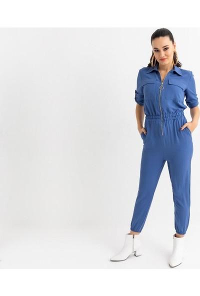 Wom Chery Göğüs Fermuarlı, Cep Detaylı Yazlık Mavi Kadın Tulum