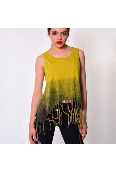 Rosidam Boncuk Detaylı Etnik Tasarım Viskon Kumaş Sarı Salaş Atlet Tişört