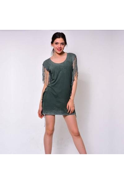 Rosidam Viskon Kumaş Lazer Kesim Yeşil Renk Yazlık Kadın Tunik