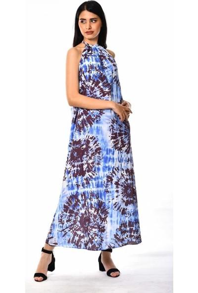 Wom Chery Boyun Askılı Kahverengi Desenli Mavi Salaş Uzun Elbise