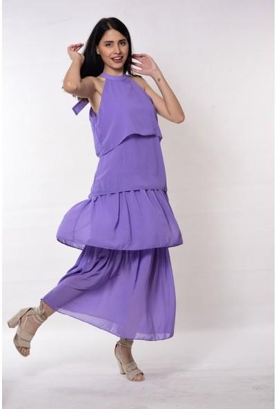 Wom Chery Lila Rengi Kat Kat Uzun Şifon Elbise