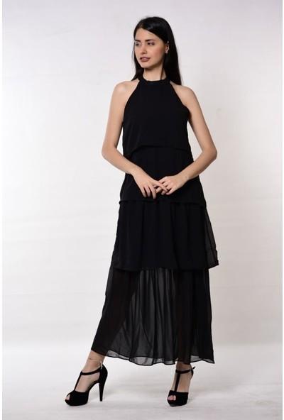 Wom Chery Siyah Renk Kat Kat Uzun Şifon Elbise