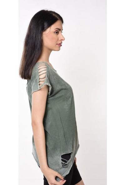 Rosidam Viskon Kumaş Lazer Kesim Yeşil Yazlık Kadın Tişört