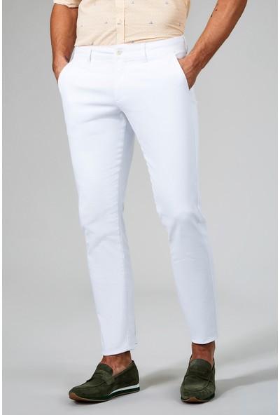 AVVA Beyaz Erkek Dokuma Chino Basics Pantolon B003556