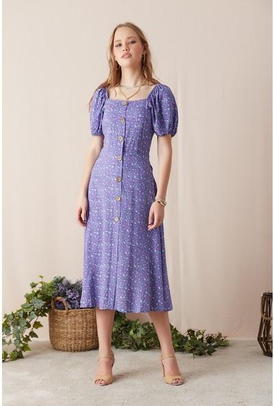 Eka Kadın Geniş Yaka Astarlı Desenli Elbise-Lila