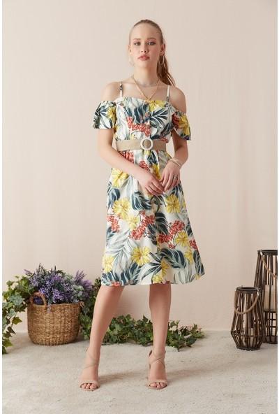Eka Kadın Askılı Omuzu Açık Çiçek Desenli Elbise-Ekru