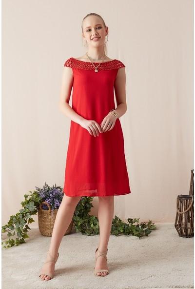 Eka Kadın Bağlamalı Kolsuz Elbise-Kırmızı