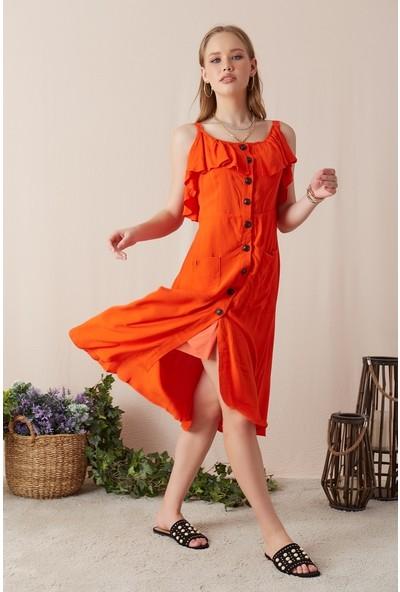 Freestar Kadın Askılı Cepli Düğmeli Elbise-Orange