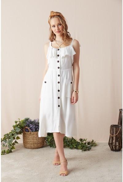 Eka Kadın Askılı Cepli Düğmeli Elbise-Ekru