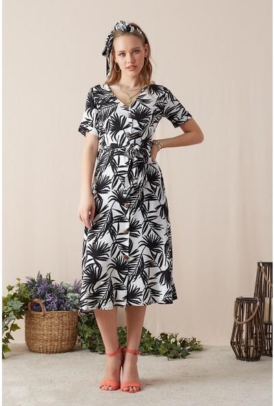 Eka Kadın Kuşaklı Astarlı Desenli Elbise-Siyah-Beyaz
