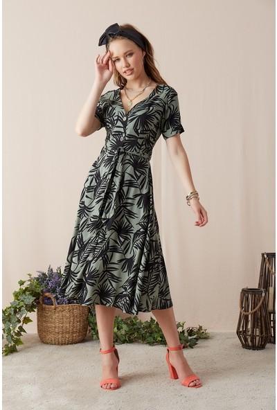 Eka Kadın Kuşaklı Astarlı Desenli Elbise-Haki-Siyah