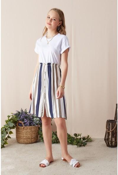 Eka Kadın Eteği Çizgili Beli Lastikli Düğmeli Elbise-Kahve-Beyaz