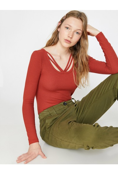 Koton Kadın Yaka Detaylı Sweatshirt