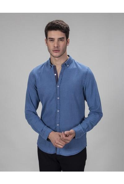 Tudors Slim Fit Mavi Denim Erkek Gömlek