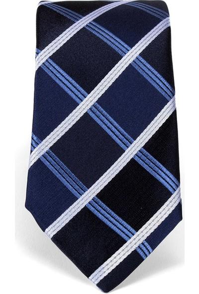 Tudors Klasik Mavi Üzerine Beyaz Çizgi Detaylı Kravat