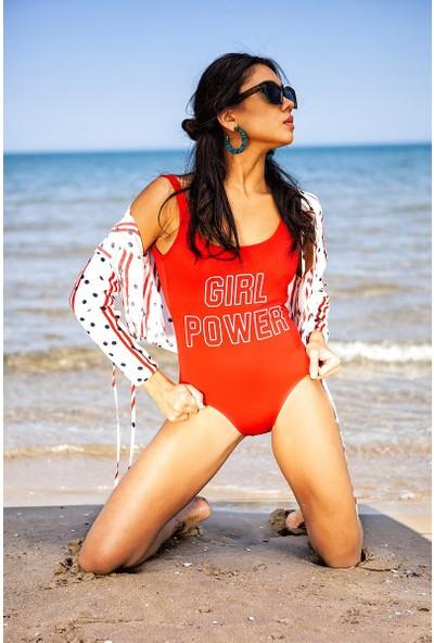 Kırmızı Girl Power Baskılı Mayo