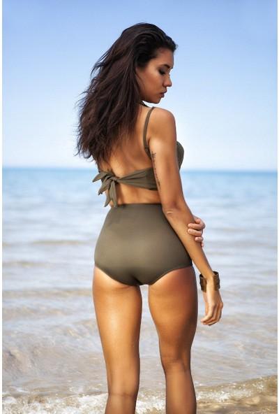 Haki Yeşil Yüksek Bel Bikini Alt Üst Takım