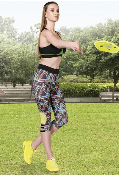 Anastasia Siyah Geometrik Desenli İnce Şeritli Kapri Spor Tayt 22516