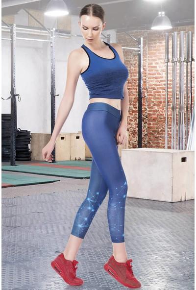 Anastasia İndigo Geometrik Baskılı Spor Tayt 22080