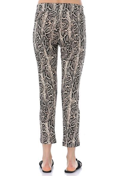 Ust Kadın Yılan Desenli Cepli Pantolon