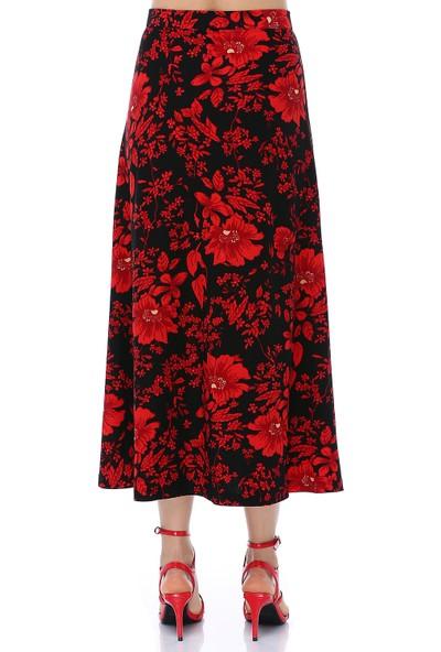 Ust Kadın Kırmızı Siyah Çiçekli Etek