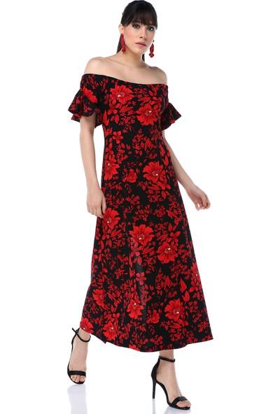 Ust Kadın Kırmızı Çiçekli Siyah Kısakollu Elbise
