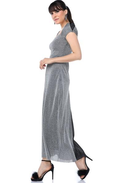 Ust Kadın Elbise Gri Simli