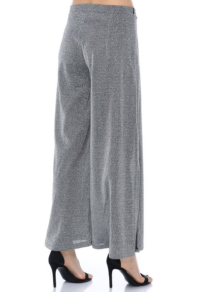 Ust Kadın Pantolon Gri Simli